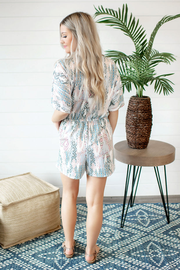 Mix Print Ethnic Romper