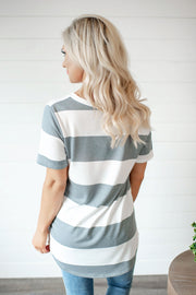 Play It By Ear Striped V-Neck (Grey)