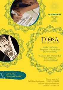 Henna Workshop by Diosa Body Art & Design [Materials Included]