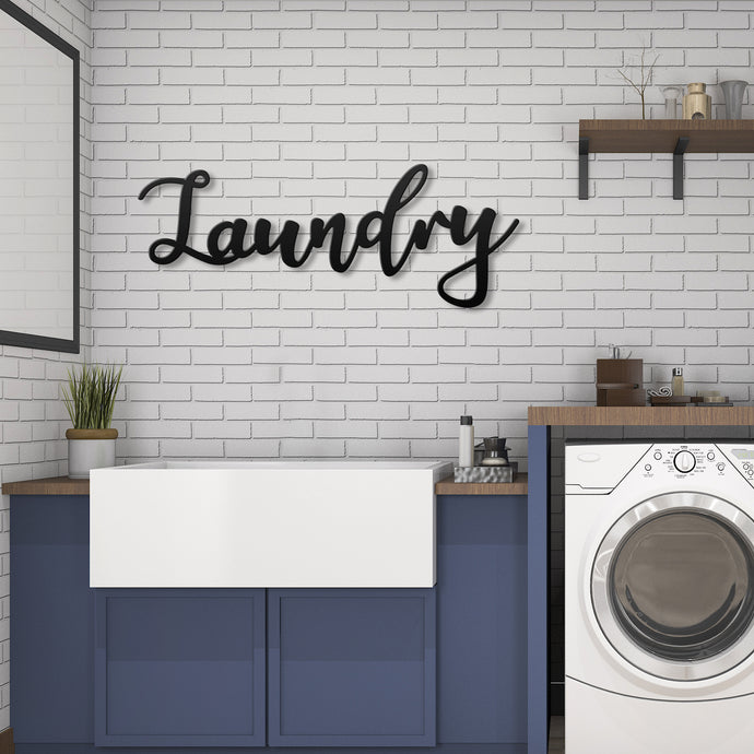 Laundry Metal Wall Art - 24 x 11.75 Inches