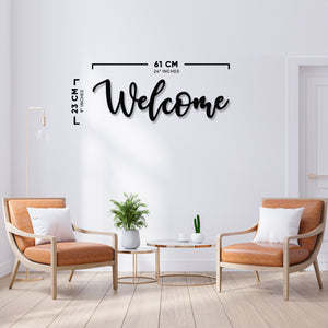 Welcome Metal Wall Art - 24 x 9 Inches