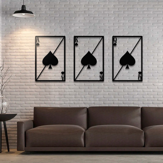 Ace King Queen Of Spades Metal Wall Art - 3 Set - 19.68