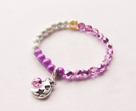 Pink Selene Beads Bracelet with crescent moon charm