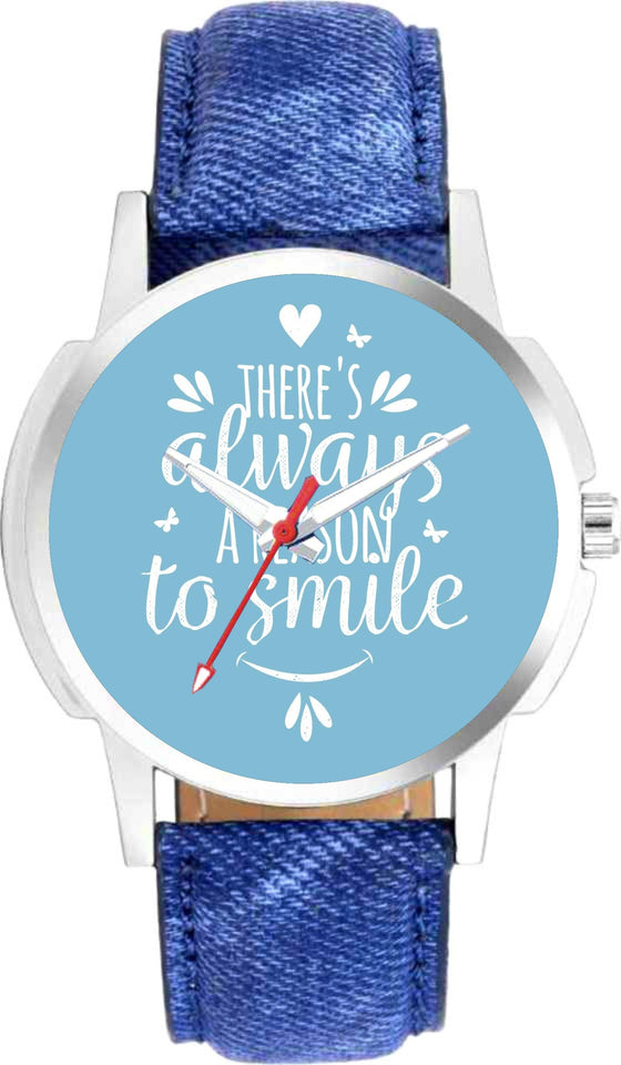 Theres Always A Reason To Smile Graphic Dial Black Leather Strap Watch For Mens