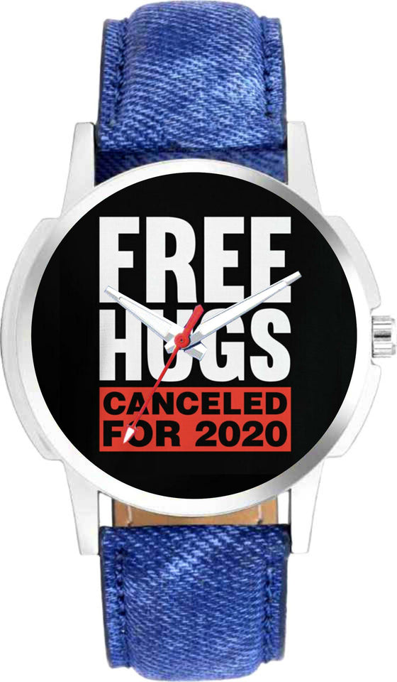 Free Hugs Canceled For 2020 Graphic Dial Denim Strap Watch For Mens