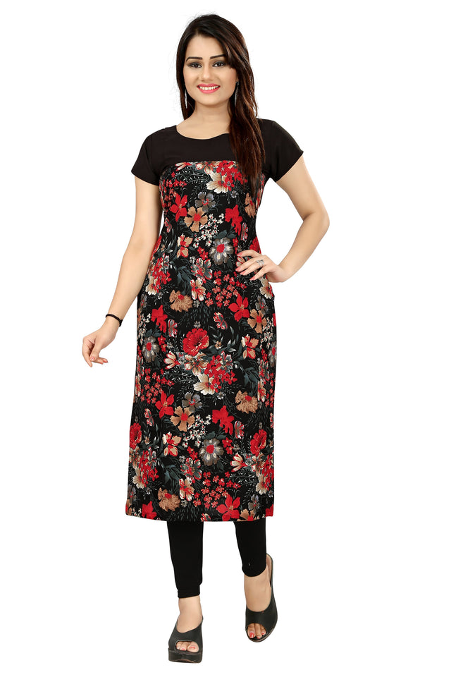 New Ethnic 4 You Womens Printed Full-Stitched Crepe Straight Kurti_66( Black Color)