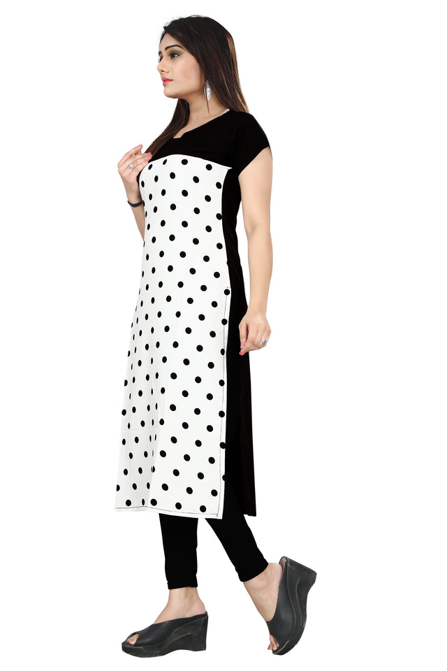 New Ethnic 4 You Womens Printed Full-Stitched Crepe Straight Kurti_76( Black & White Color)