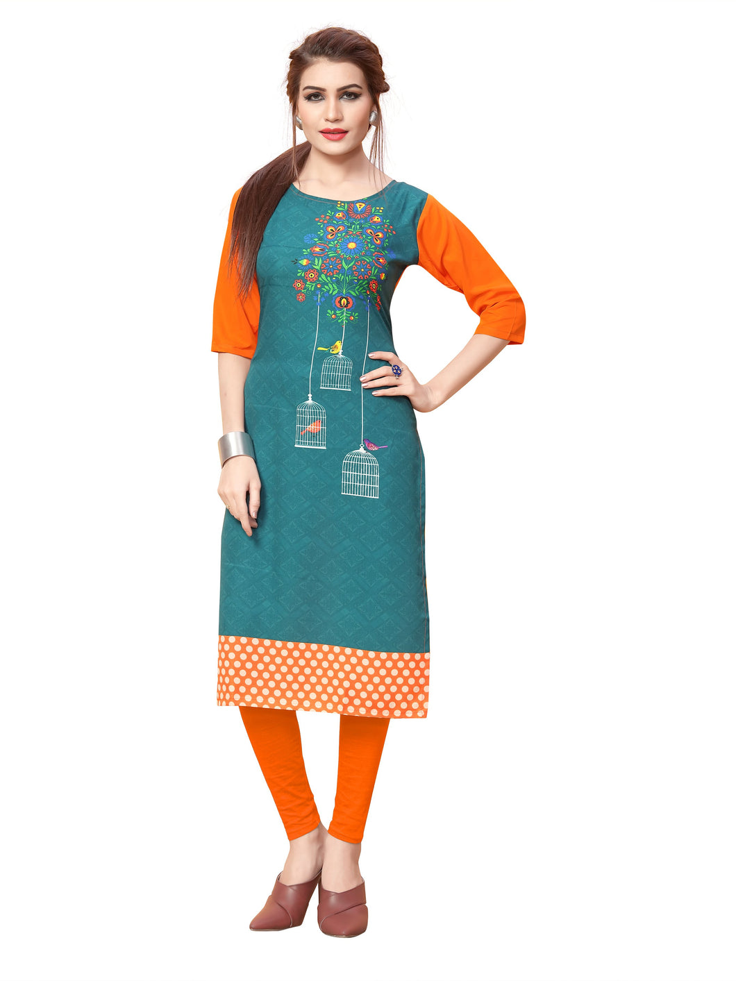 New Ethnic 4 You Womens Printed Full-Stitched Crepe Straight Kurti_92( Rama Green& Orange Color)