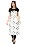 New Ethnic 4 You Womens Printed Full-Stitched Crepe Straight Kurti_81( White & Black Color)