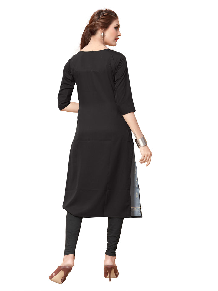 New Ethnic 4 You Womens Printed Full-Stitched Crepe Straight Kurti_101( Black Color)