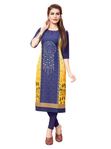 New Ethnic 4 You Womens Printed Full-Stitched Crepe Straight Kurti_102( Navy Blue& Yellow Color)