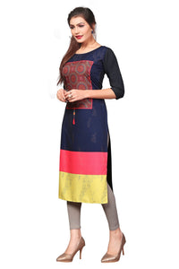New Ethnic 4 You Womens Multicolor Printed Full-Stitched Crepe Straight Kurta_165
