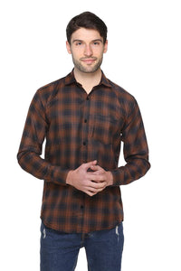 Balino London Brown Check Casual Shirt For Men