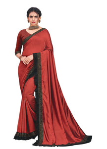 SLE Maroon Vichitra Silk Stone Work Saree With Blouse