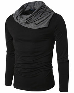 PAUSE Black Solid Cotton Round Neck Regular Full Sleeve Mens T-Shirt
