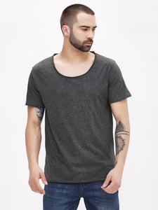 PAUSE Grey Solid Cotton Scoop Neck Slim Fit Half Sleeve Mens T-Shirt