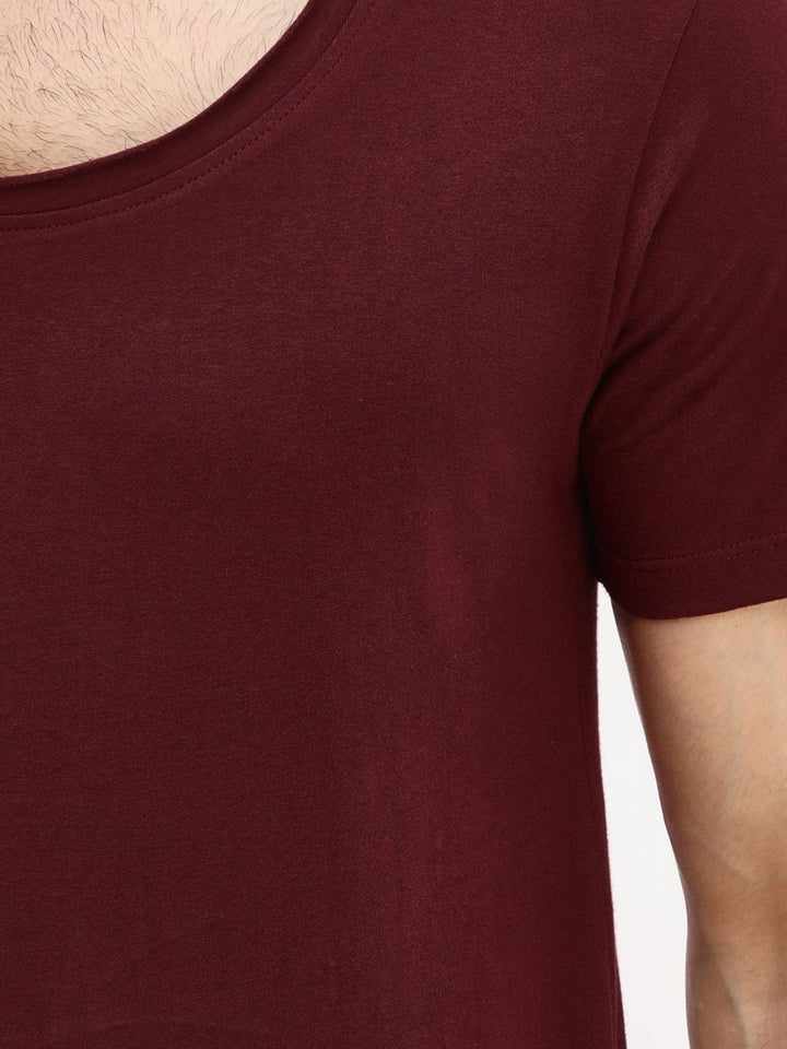 PAUSE Maroon Solid Cotton Scoop Neck Slim Fit Half Sleeve Mens T-Shirt