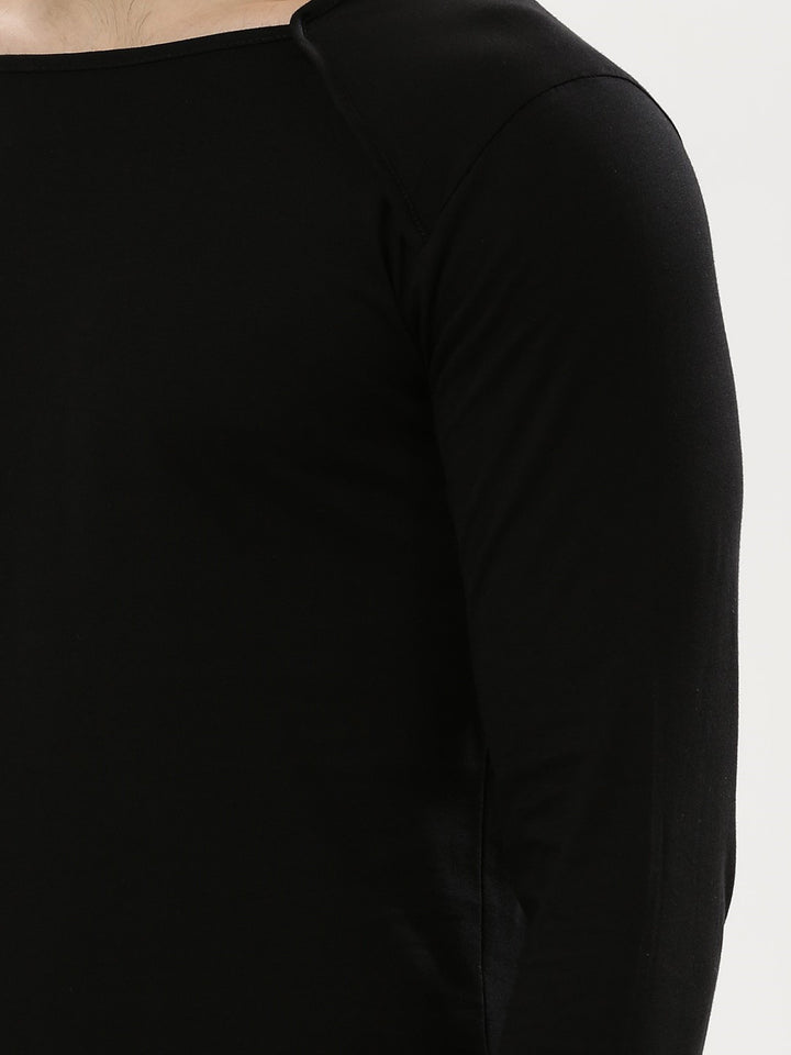 PAUSE Black Solid Cotton Square Neck Slim Fit Full Sleeve Mens T-Shirt