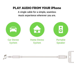 Drumstone 3.5 mm Audio Cable with Lightning Connector for All iOS Devices