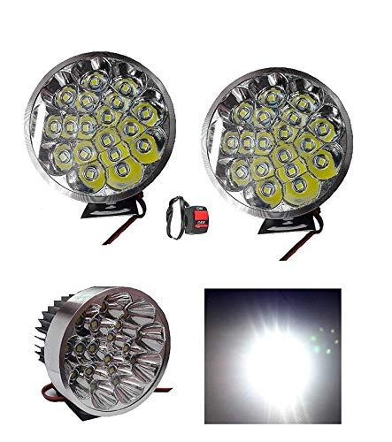 Cartronics 18 Led Small Motorcycle All Bikes And Cars Led Fog Lights Round Fog Lamp Assembles Pack Of 2 With Switch