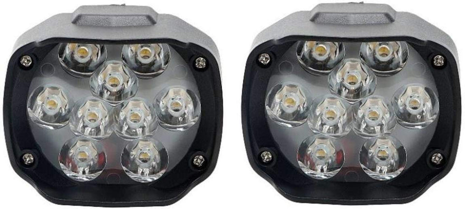 Imported 9 LED Fog Light for Cars and Bikes (Fog Light Pair with Normal Switch)