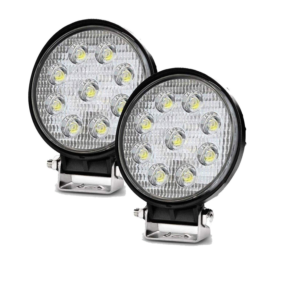 Cartronics-9 LED Round Big Fog Light Off Road Driving Waterproof 3 inch Spot Lamp with Mounting Brackets for Motorcycle Car Jeep 4x4 Tractor (27W) (Set of 2)