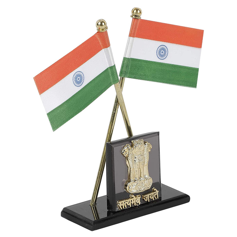 Cartronics Indian Flag in Pair with Satyamev Jayate Symbol in Square Shape Stand for All Car Desk & Office Table 1pc