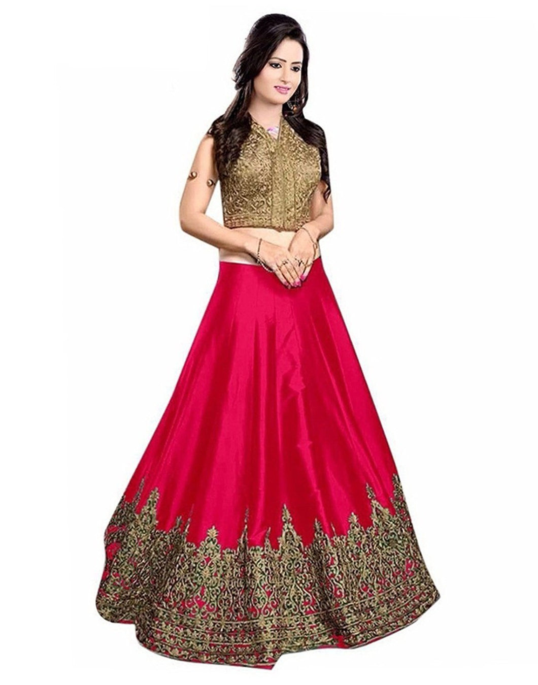 V Karan Banglori Silk Embroidered Semi Stitched Lehengha Choli For Women