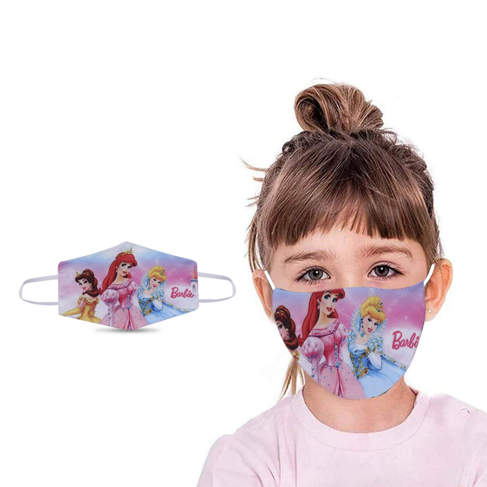 Barbie Graphic Printed Reusable Pollution Protection Girl Face Covering Mask For Kids-Child