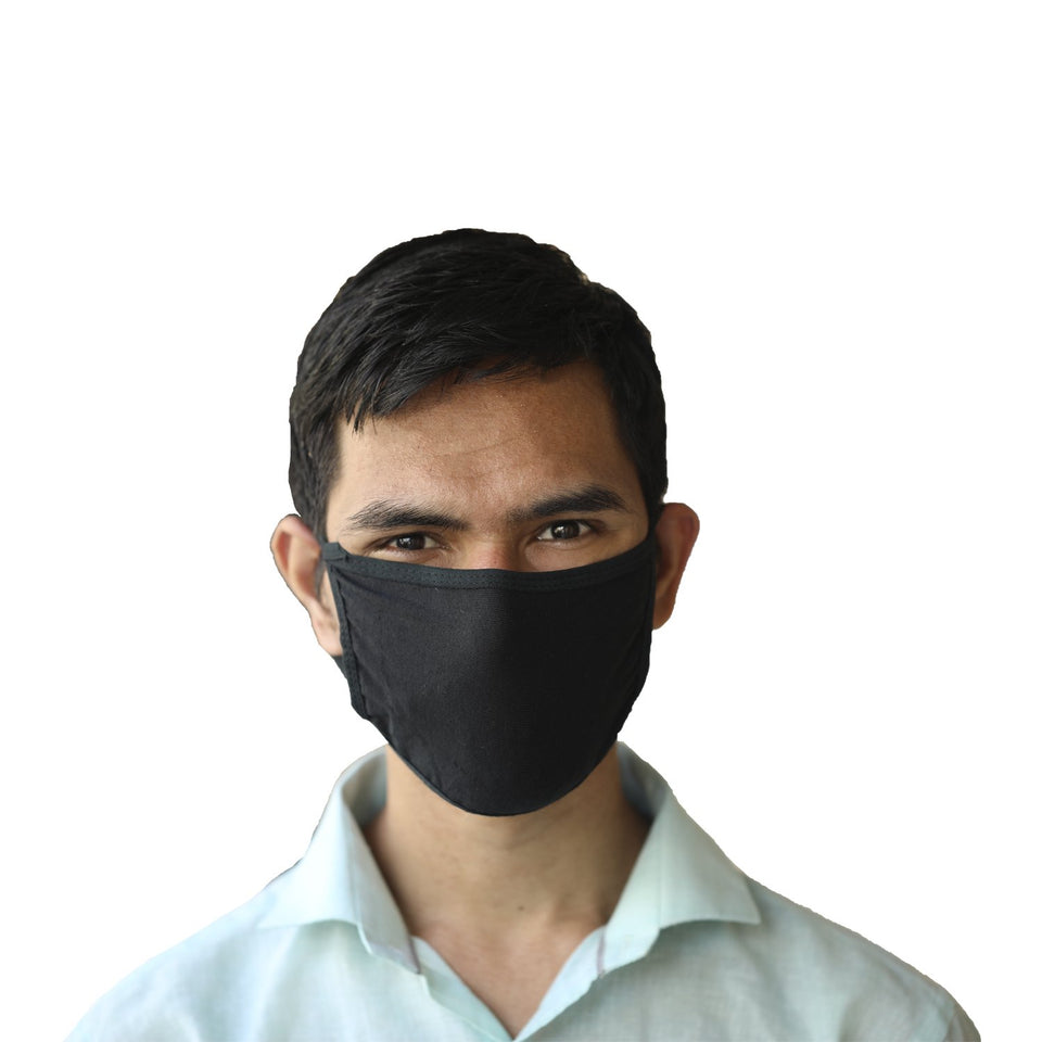 Protection  Black Cotton Face Mask Pack Of 10