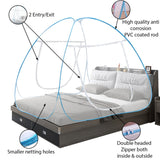 Blue Mosquito Net Foldable Double Bed Net