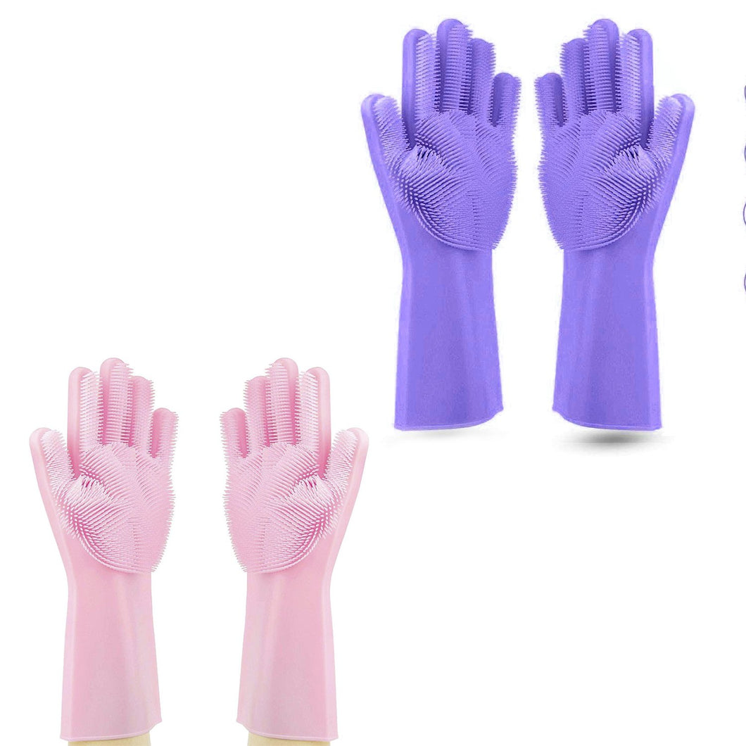 Cleaning Gloves  Silicon dish washing gloves Combo (2 Pack of )