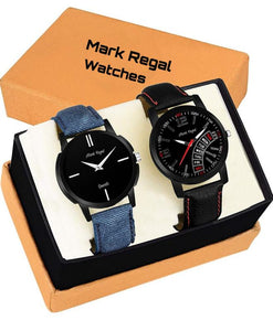 Mark Regal Round Dial Leather Strap Watches Combo Of 2pcs