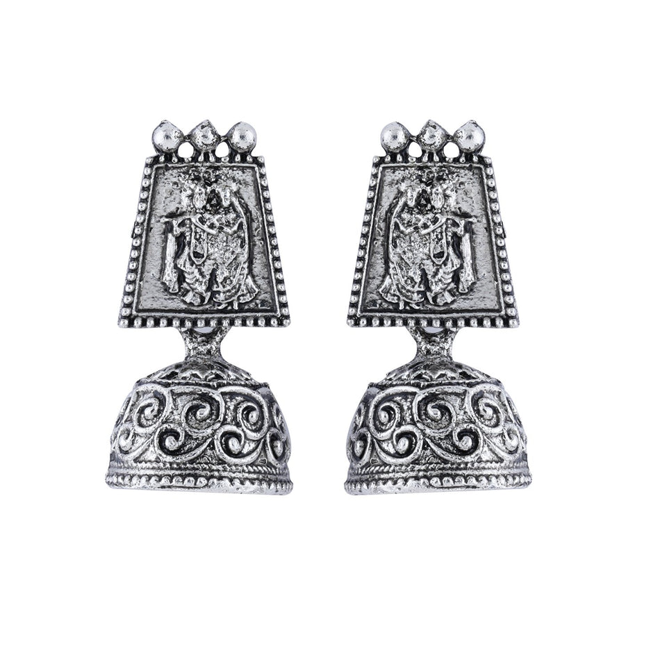 Silver Shine  Oxidised Wedding  Traditional jhumki Earring For Women Girl
