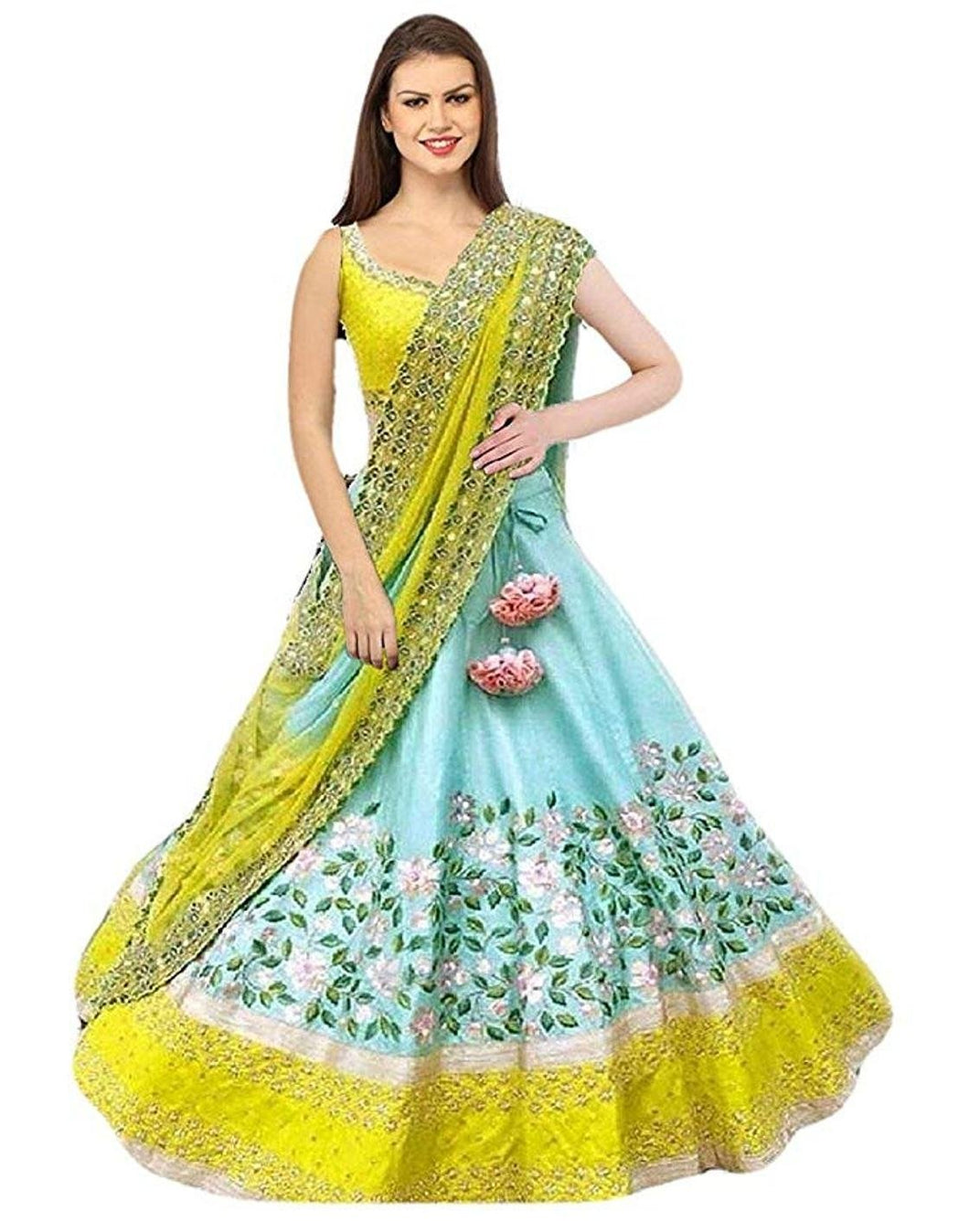 V Karan Turquoise Bangalore Silk Embroidered Lehengha Choli For Women
