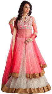 Florence Pink Net Russel Embroidered Cool Lehengha Choli For Women