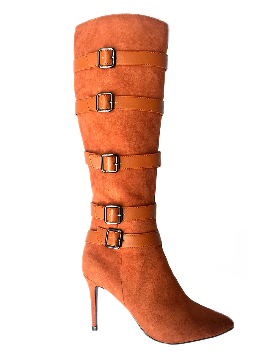 Brandy Cognac Heel Boot