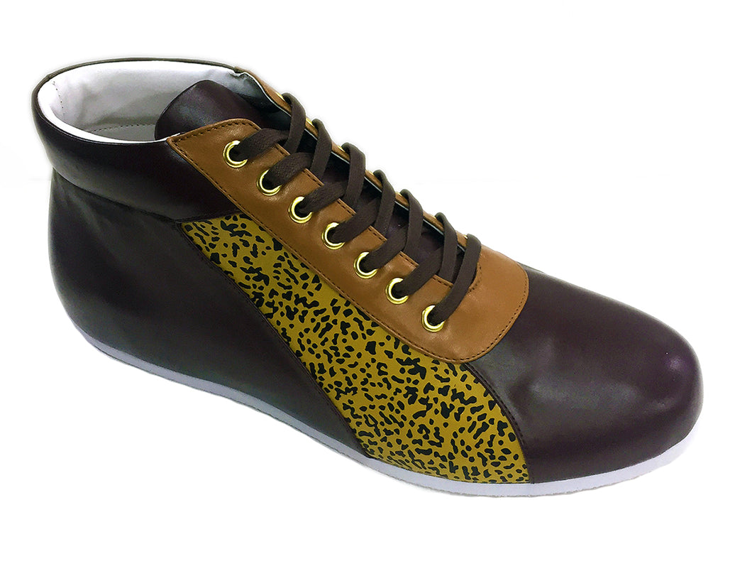 Brown Mustard Accent High Top Sneakers
