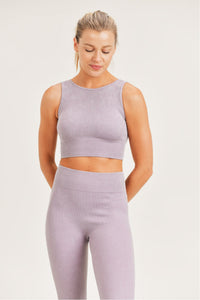 Ribbed Mineral Wash Seamless Sports Bra