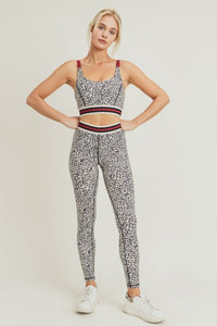 Snow Leopard Striped Band Sports Bra