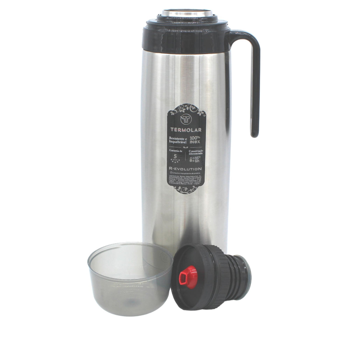 Unbreakable Termolar R-Evolution Stainless Steel Thermos, 1 Liter