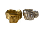 Load image into Gallery viewer, Square Signet Pinky Letter Ring - Gold Plated