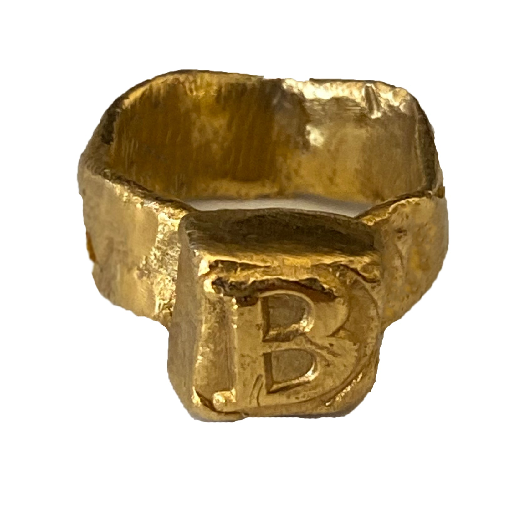 Square Signet Pinky Letter Ring - Gold Plated