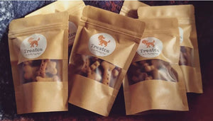 Available at www.finnyandziggy.co.uk - Treatos (Dog Treats) - Pumpkin and Peanut Butter Bones - 50g