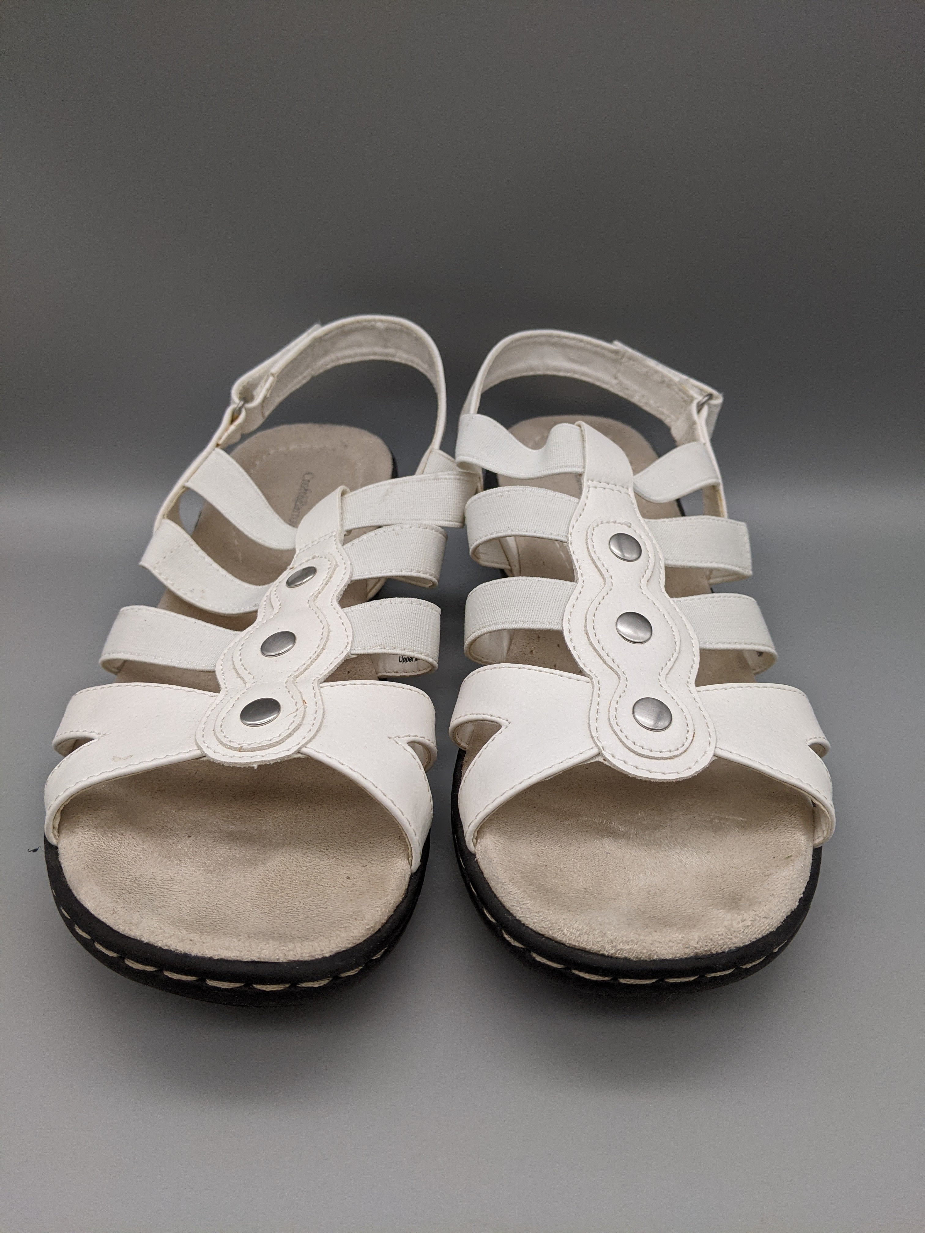 Photo #1 - BRAND: CROFT AND BARROW <BR>STYLE: SANDALS FLAT <BR>COLOR: WHITE <BR>SIZE: 9 <BR>SKU: 115-115336-4986<BR>SOME WEAR