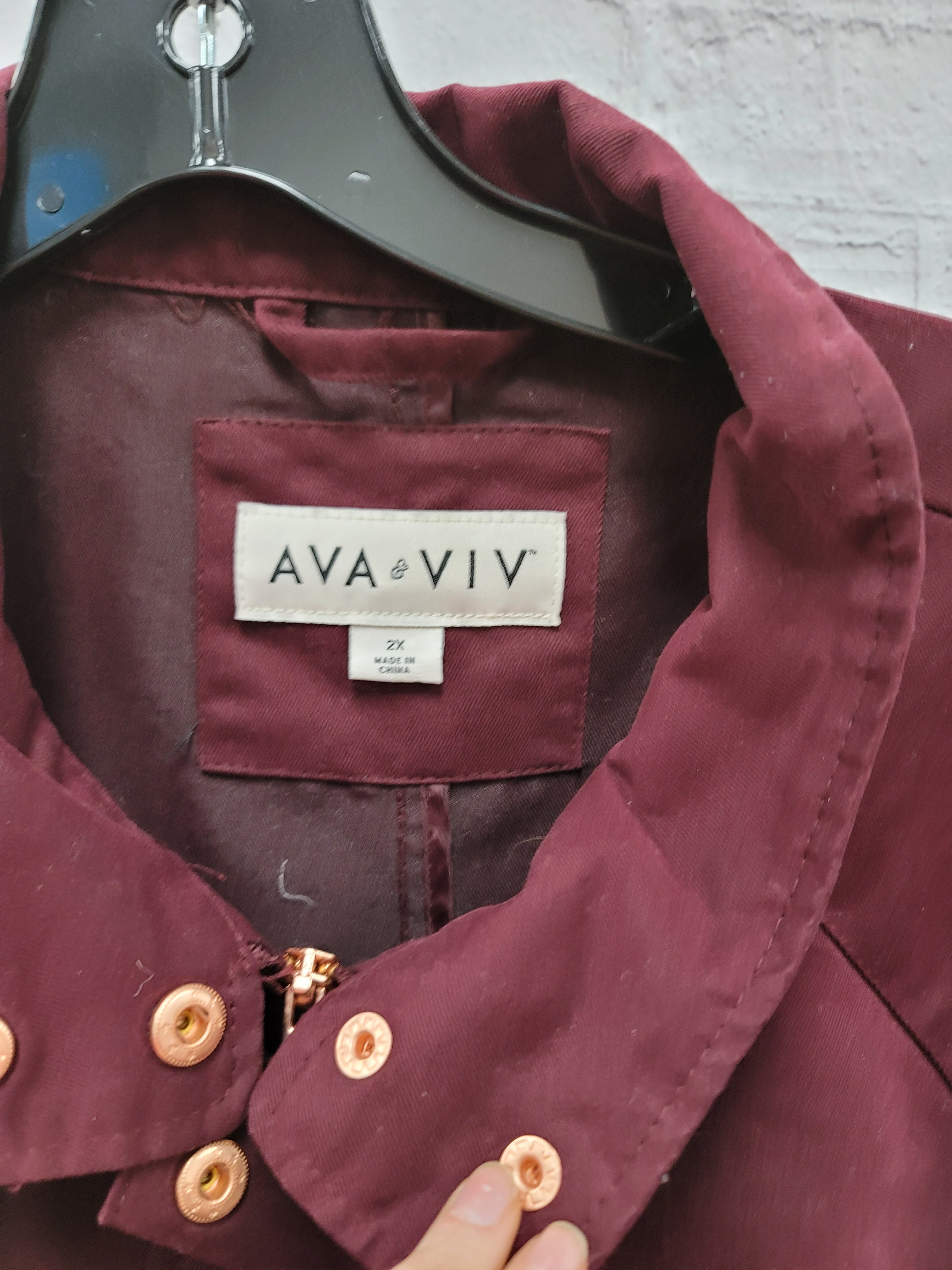 Photo #2 - BRAND: AVA & VIV <BR>STYLE: JACKET OUTDOOR <BR>COLOR: MAROON <BR>SIZE: 2X <BR>SKU: 115-115302-17499