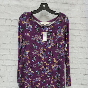 Primary Photo - BRAND: LOFT STYLE: DRESS SHORT LONG SLEEVE COLOR: PURPLE SIZE: S OTHER INFO: FLORAL SKU: 115-115340-1634
