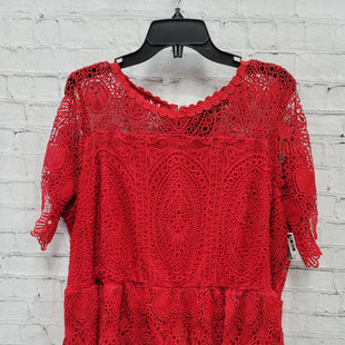 Primary Photo - BRAND: LANE BRYANT STYLE: TOP SHORT SLEEVE COLOR: RED SIZE: 3X OTHER INFO: LACE SKU: 115-115309-21370