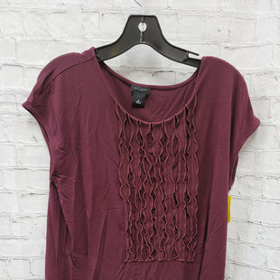 Primary Photo - BRAND: ANN TAYLOR O STYLE: TOP SHORT SLEEVE COLOR: BURGUNDY SIZE: M OTHER INFO: RUFFLES SKU: 115-115257-29461
