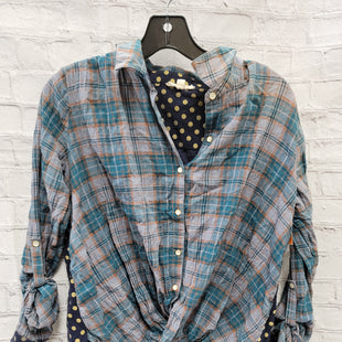 Primary Photo - BRAND: HEM & THREAD STYLE: TOP LONG SLEEVE COLOR: BLUE PLAID SIZE: S OTHER INFO: POLKA DOT BACK SKU: 115-115309-20027
